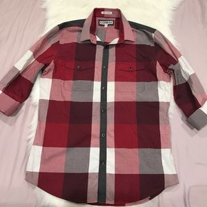 Express red and white plaid casual Button Down